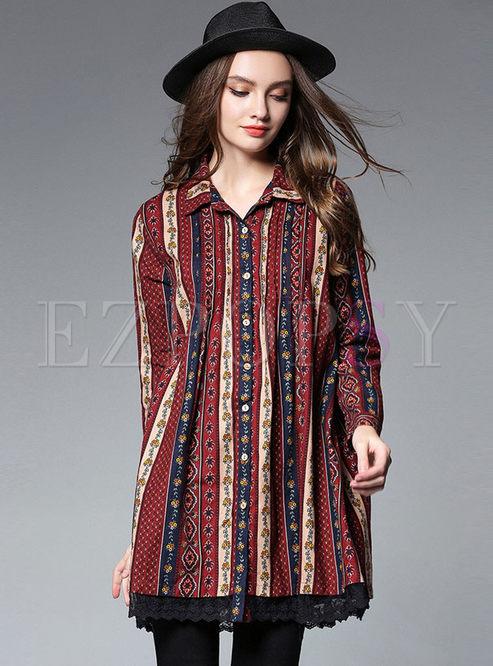 3a4b4ece1b6 Shift Dresses.   Loose Striped Floral Print Shirt Dress