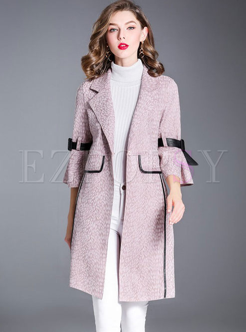 Pink Suede Flare Sleeve Trench Coat