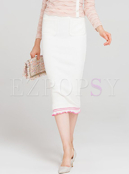 White Falbala Hem Slim Knitted Skirt