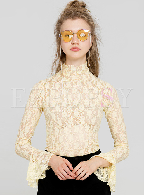 Elegant Lace Flare Sleeve Slim Blouse