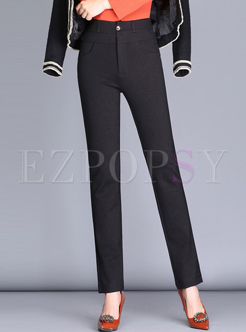 Black Brief High Waist Straight Pants