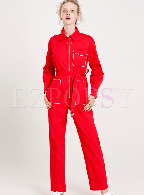 Red Belted Turn Down Collar Jumpsuits
