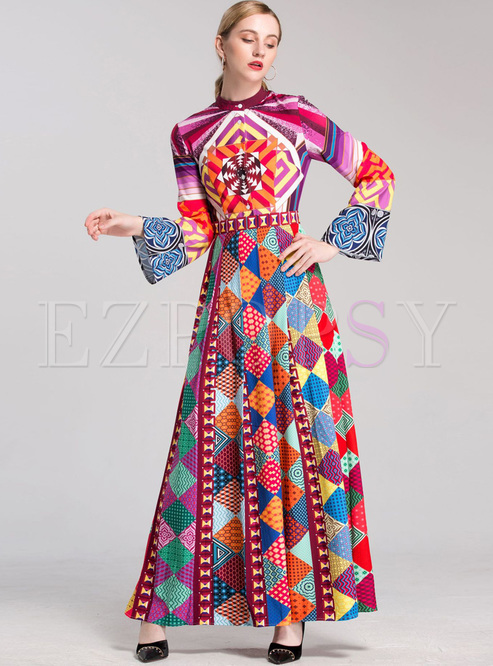 Chic Flare Sleeve Geometric Print Maxi Dress