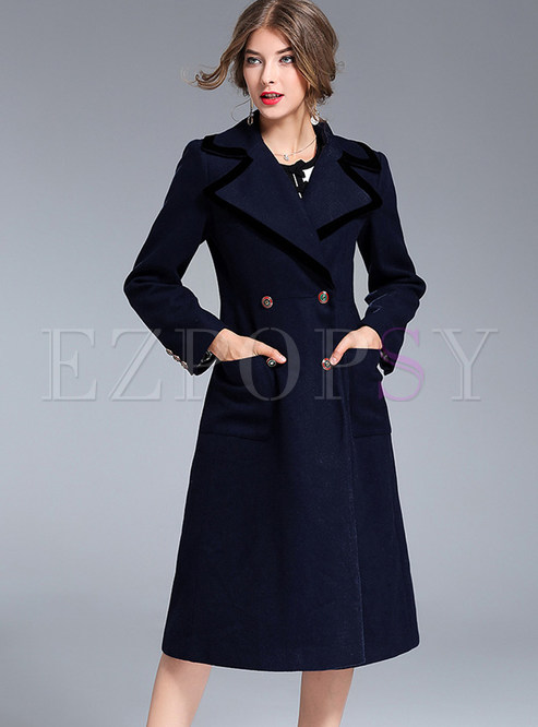 Brief Knee-length Double-breasted Notched Coat