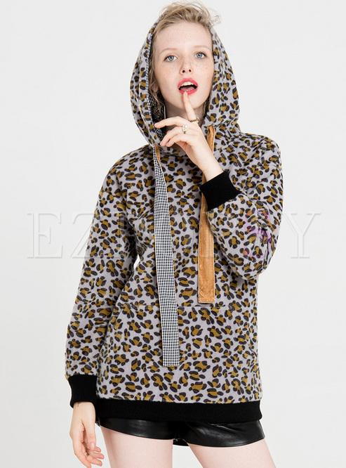 Casual Leopard Tied Sweatshirt