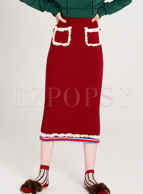 Fashion Red Knitted With Pockets Skirt