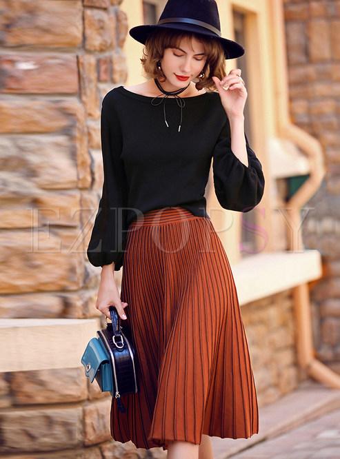 Stylish Black Lantern Sleeve Belt T-shirt & Ruffled Knee-length ...