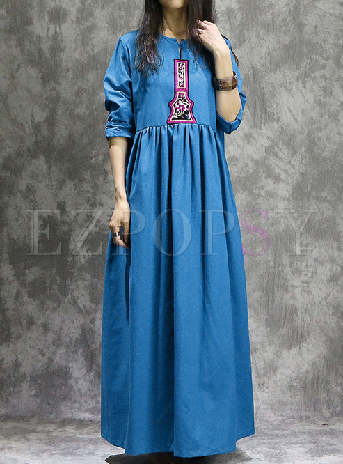 Ethnic Gathered Waist Embellished Maxi Dress