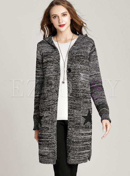 Hooded Knitted Star Pattern Sweater Coat