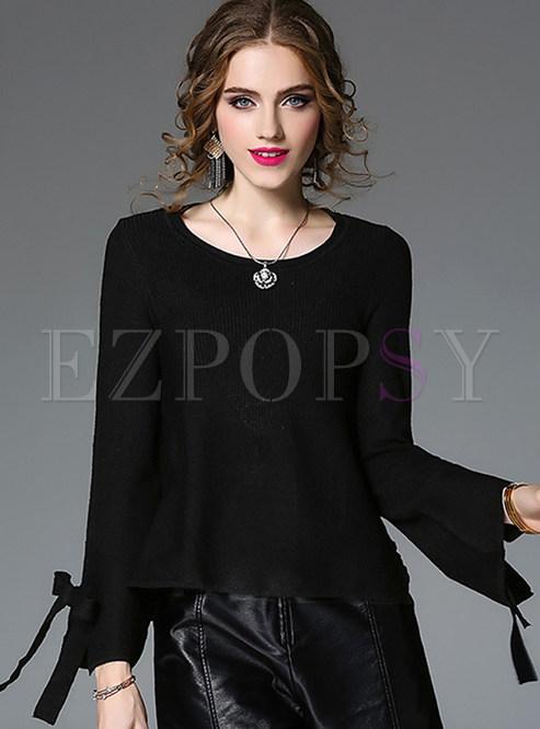 Black Brief O-neck Pullover Sweatshirt