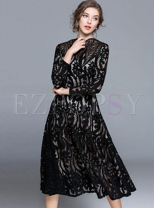 Dresses Skater Dresses Black Hollow Out Mesh Splicing Lace