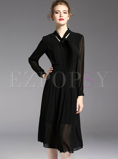 Dresses Skater Dresses Elegant Black Long Sleeve See Through