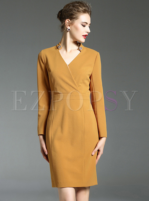65512137718a Bodycon Dresses.   Yellow V-neck ...