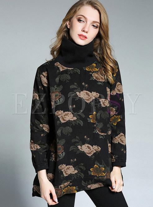 Black vintage turtleneck floral long sleeve t shirt for Long sleeve black turtleneck shirt