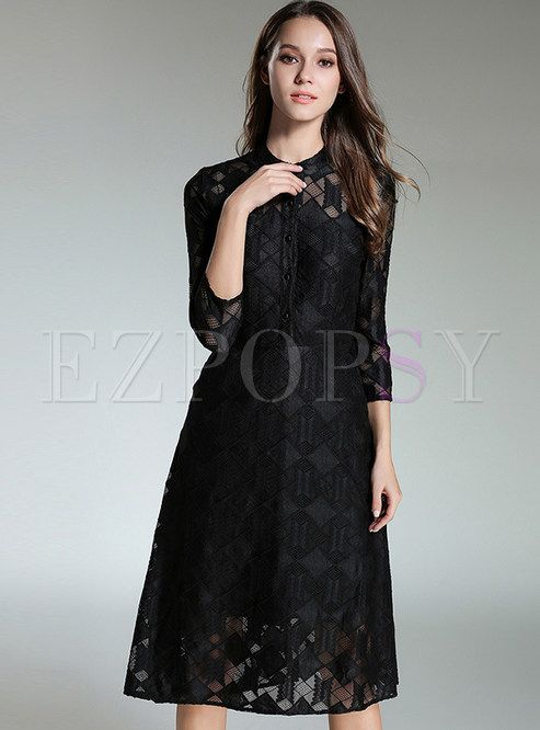 Dresses Skater Dresses Black Brief Lace Stand Collar Skater Dress