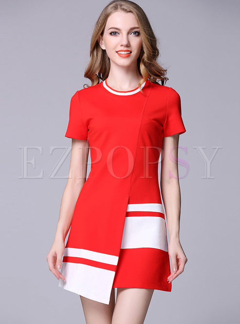 Skater Dresses.   Red Stitching Asymmetric Short Sleeve ... 4ed63fa9e
