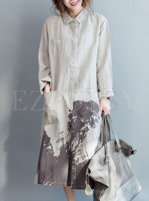 Ethnic Brush Painting Loose Shirt Dress