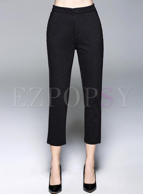 Work Black Sheath Calf-length Pencil Pants