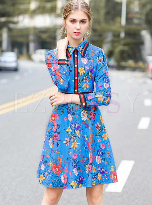 5de3c71275 Skater Dresses.   Blue Floral Print A-line Shirt Dress