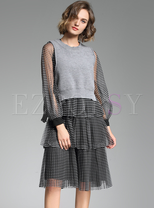 9b62acd5dc5 Two-piece Outfits.   Mesh Sleeve Striped Dress   Sleeveless Knitted Vest