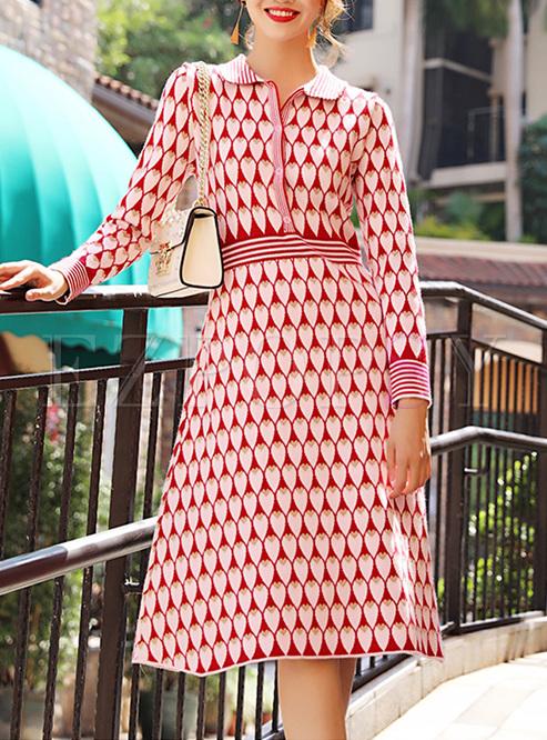 Street Lapel Heart Pattern Slim Knitted Dress Ezpopsy