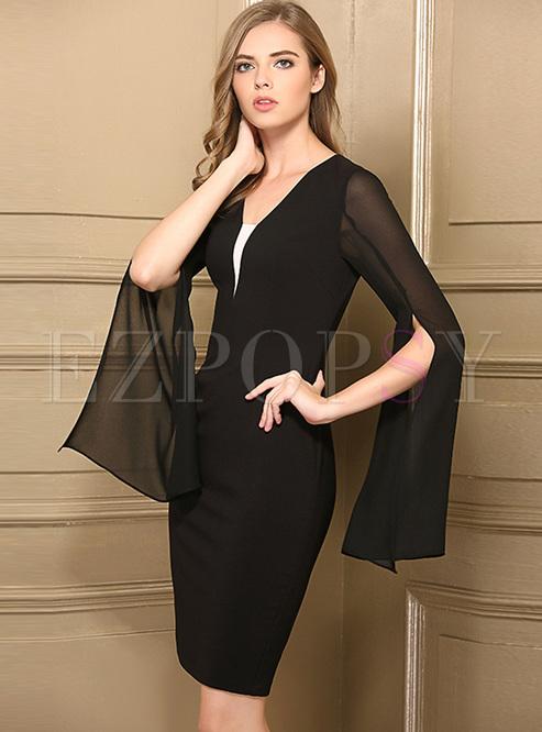 Bodycon Dresses.   Sexy V-neck Split Flare Sleeve ... 22ced7f52