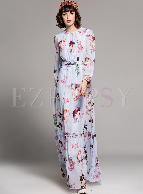 7f6d048a71 Maxi Dresses.   Vintage Floral Print Long Sleeve Maxi Dress