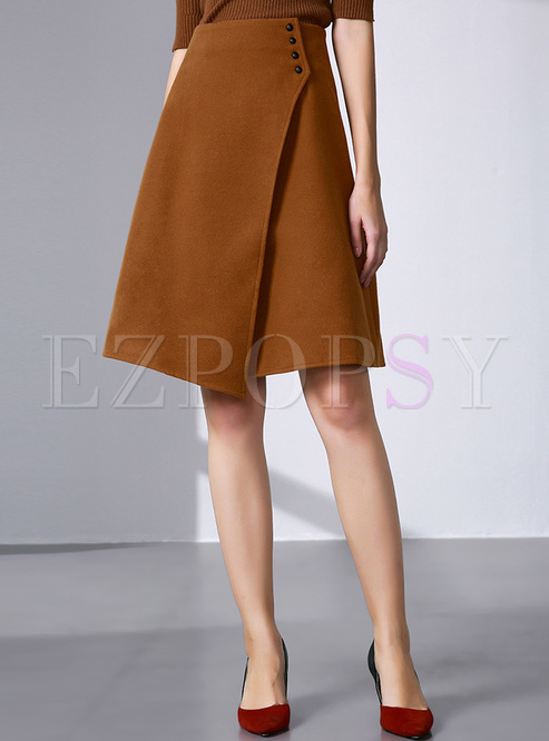 48746323d26 Skirts.   Vintage Asymmetric Buttoned A-line Skirt