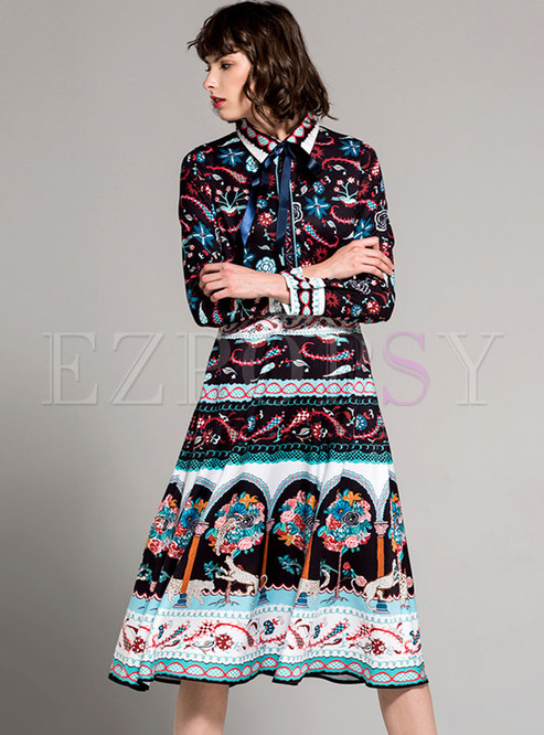 f717487059 Skater Dresses.   Vintage Floral Print Lacing A-line Shirt Dress
