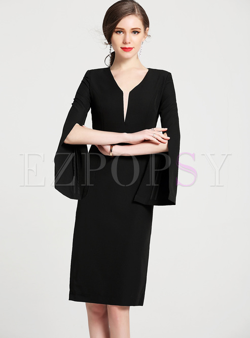 Bodycon Dresses.   Black Split Flare Sleeve V-neck ... 2a4be66ff