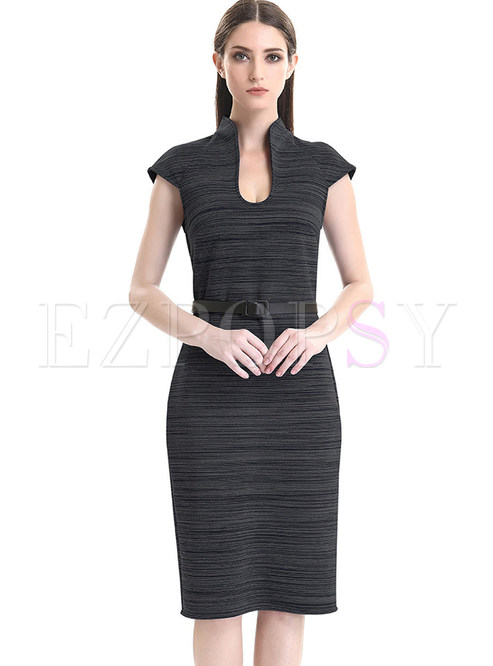 Stylish Striped Belted Sleeveless Bodycon Dress