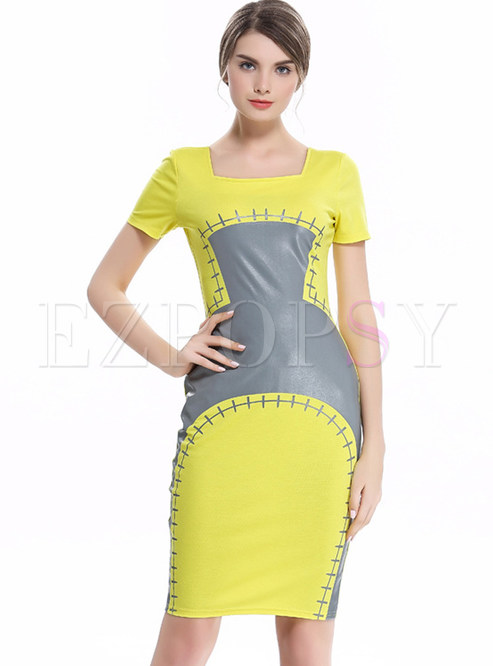 Fashion Hit Color Short Sleeve Bodycon Dress