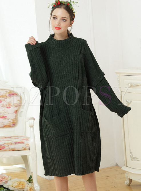 Brief High Neck Lantern Knitted Dress