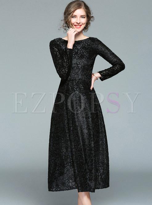 7f15c469a661 Skater Dresses.   Black Lace Long Sleeve ...