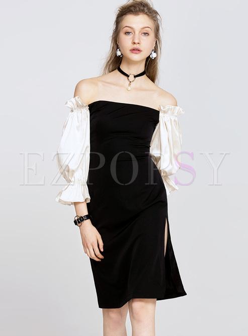 Sexy Off Shoulder Lantern Sleeve Bodycon Dress | Ezpopsy.com