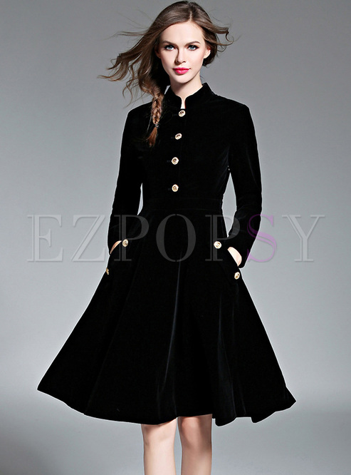 Black Brief Stand Collar Buttoned Skater Dress