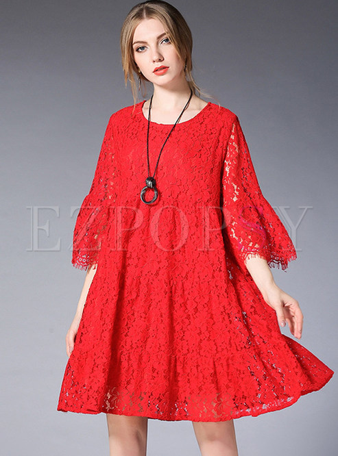 Loose Lace Hollow Out Shift Dress