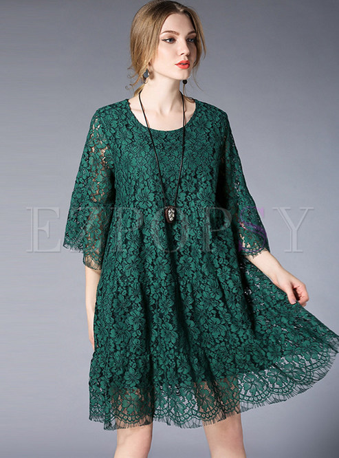 Green Casual Lace Hollow Out Shift Dress