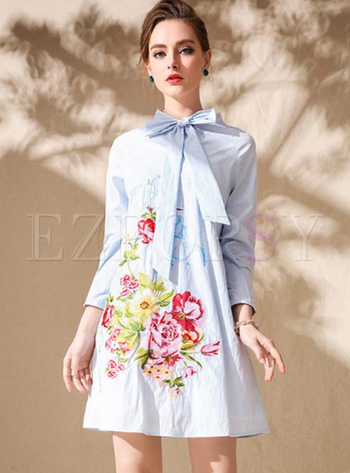 c2cbdd50a626 Shift Dresses.   Light Blue Cute Embroidered ...