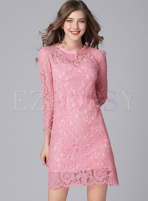 Pink Lace Hollow Out Shift Dress