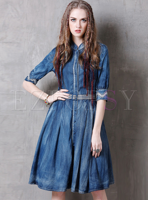 Ethnic Embroidery Stand Collar A-line Dress