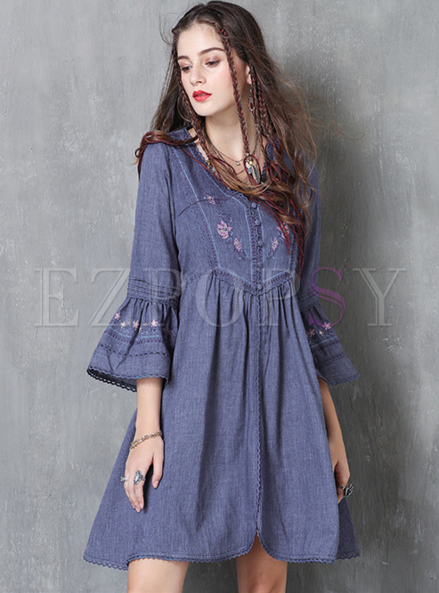 Vintage Embroidery Flare Sleeve Skater Dress