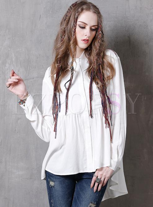 White Lapel Embroidery Asymmetric Blouse