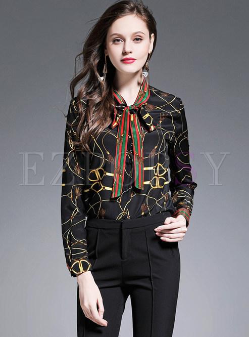 7ebcbbd36e906 Blouses.   Hit Color Silk Print Blouse