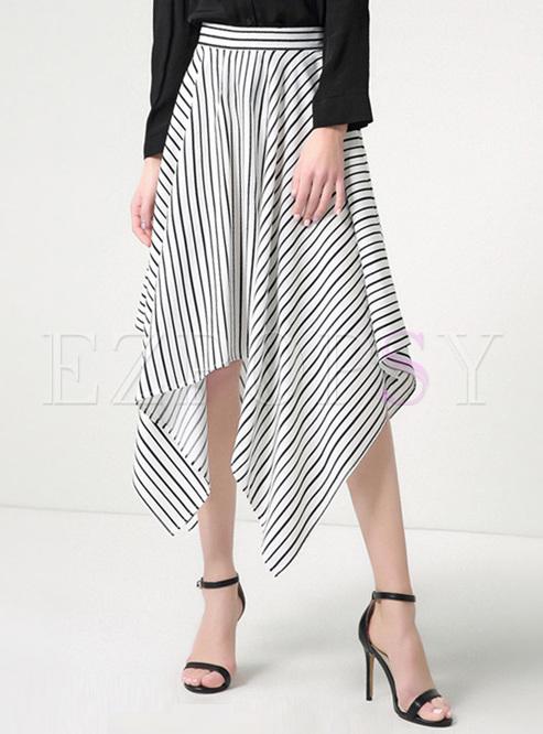 482e205f02f Skirts.   Chic Striped Asymmetric A-line Skirt