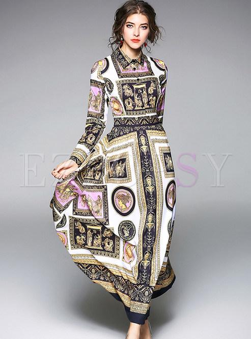 Vintage Print Chiffon Maxi Dress