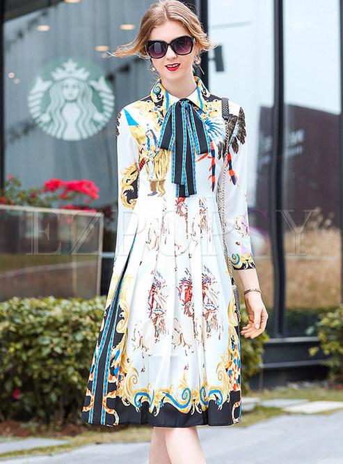 Fashion Print Lapel Bowknot Pleated Dress