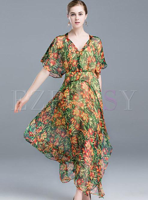 Dresses Maxi Dresses Bohemian Silk Flower Print Asymmetric Maxi
