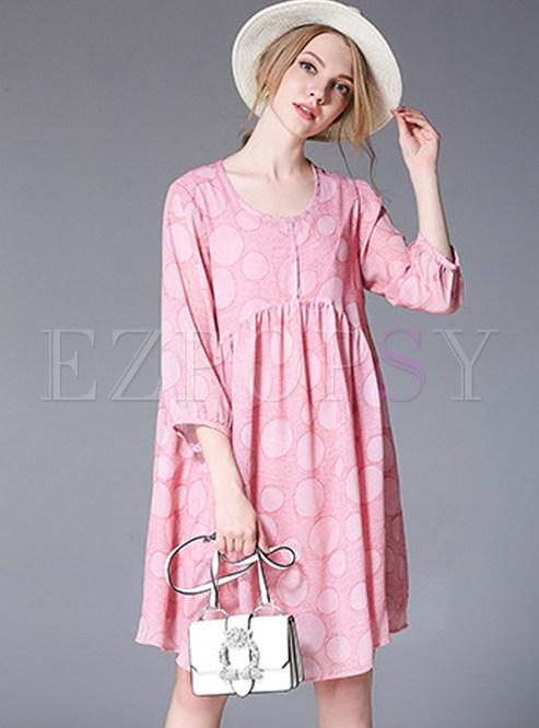 Pink Dot Print Splicing Chiffon Dress