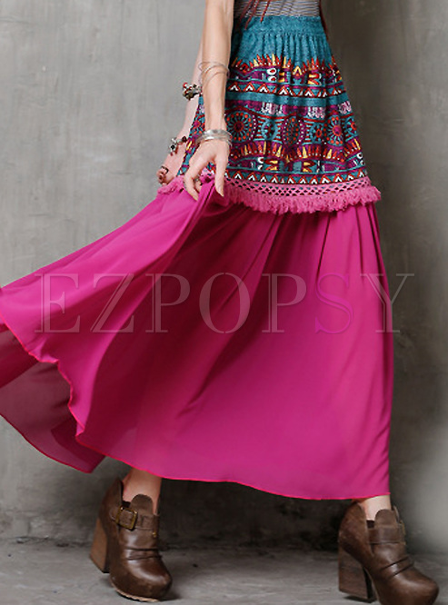 High Waisted Print Fringed Maxi Skirt